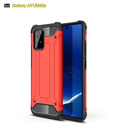 King Kong Armor Premium Shockproof Dual Layer Rugged Hard Cover for Samsung Galaxy A91 - Big Red