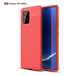 Luxury Auto Focus Litchi Texture Silicone TPU Back Cover for Samsung Galaxy A91 - Red