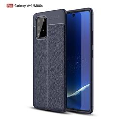 Luxury Auto Focus Litchi Texture Silicone TPU Back Cover for Samsung Galaxy A91 - Dark Blue