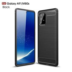 Luxury Carbon Fiber Brushed Wire Drawing Silicone TPU Back Cover for Samsung Galaxy A91 - Black