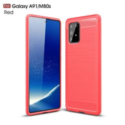 Luxury Carbon Fiber Brushed Wire Drawing Silicone TPU Back Cover for Samsung Galaxy A91 - Red