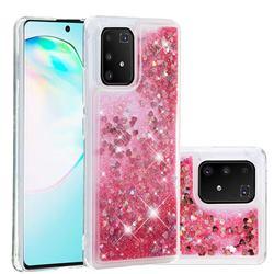 Dynamic Liquid Glitter Quicksand Sequins TPU Phone Case for Samsung Galaxy A91 - Rose