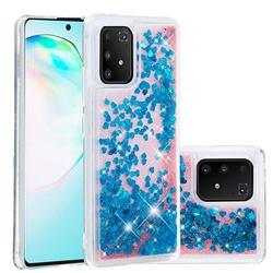 Dynamic Liquid Glitter Quicksand Sequins TPU Phone Case for Samsung Galaxy A91 - Blue