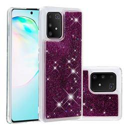 Dynamic Liquid Glitter Quicksand Sequins TPU Phone Case for Samsung Galaxy A91 - Purple