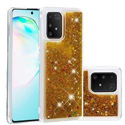 Dynamic Liquid Glitter Quicksand Sequins TPU Phone Case for Samsung Galaxy A91 - Golden