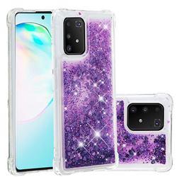 Dynamic Liquid Glitter Sand Quicksand Star TPU Case for Samsung Galaxy A91 - Purple