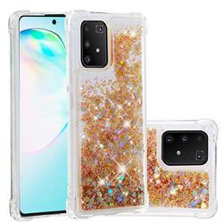 Dynamic Liquid Glitter Sand Quicksand Star TPU Case for Samsung Galaxy A91 - Diamond Gold