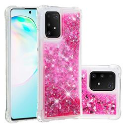 Dynamic Liquid Glitter Sand Quicksand TPU Case for Samsung Galaxy A91 - Pink Love Heart