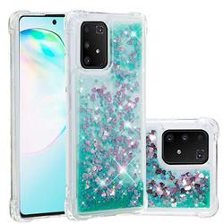 Dynamic Liquid Glitter Sand Quicksand TPU Case for Samsung Galaxy A91 - Green Love Heart