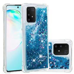 Dynamic Liquid Glitter Sand Quicksand TPU Case for Samsung Galaxy A91 - Blue Love Heart