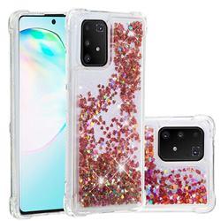 Dynamic Liquid Glitter Sand Quicksand TPU Case for Samsung Galaxy A91 - Rose Gold Love Heart