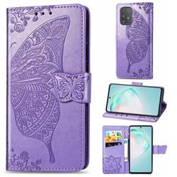 Embossing Mandala Flower Butterfly Leather Wallet Case for Samsung Galaxy A91 - Light Purple