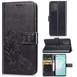 Embossing Imprint Four-Leaf Clover Leather Wallet Case for Samsung Galaxy A91 - Black
