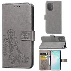 Embossing Imprint Four-Leaf Clover Leather Wallet Case for Samsung Galaxy A91 - Grey