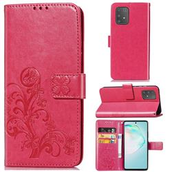 Embossing Imprint Four-Leaf Clover Leather Wallet Case for Samsung Galaxy A91 - Rose