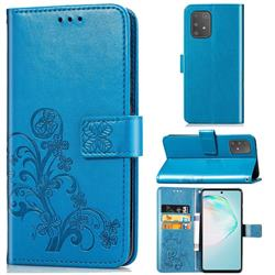Embossing Imprint Four-Leaf Clover Leather Wallet Case for Samsung Galaxy A91 - Blue