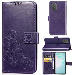 Embossing Imprint Four-Leaf Clover Leather Wallet Case for Samsung Galaxy A91 - Purple