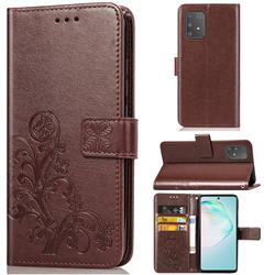 Embossing Imprint Four-Leaf Clover Leather Wallet Case for Samsung Galaxy A91 - Brown