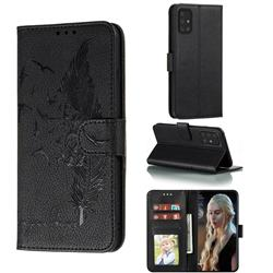 Intricate Embossing Lychee Feather Bird Leather Wallet Case for Samsung Galaxy A91 - Black