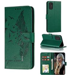 Intricate Embossing Lychee Feather Bird Leather Wallet Case for Samsung Galaxy A91 - Green