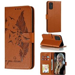 Intricate Embossing Lychee Feather Bird Leather Wallet Case for Samsung Galaxy A91 - Brown