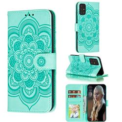 Intricate Embossing Datura Solar Leather Wallet Case for Samsung Galaxy A91 - Green