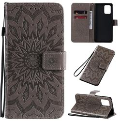 Embossing Sunflower Leather Wallet Case for Samsung Galaxy A91 - Gray