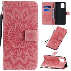 Embossing Sunflower Leather Wallet Case for Samsung Galaxy A91 - Pink