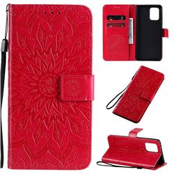 Embossing Sunflower Leather Wallet Case for Samsung Galaxy A91 - Red