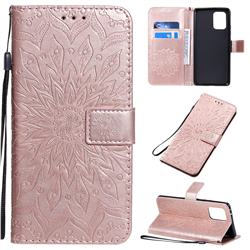 Embossing Sunflower Leather Wallet Case for Samsung Galaxy A91 - Rose Gold