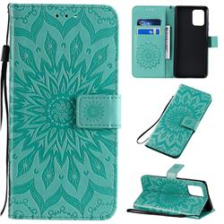 Embossing Sunflower Leather Wallet Case for Samsung Galaxy A91 - Green