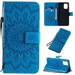 Embossing Sunflower Leather Wallet Case for Samsung Galaxy A91 - Blue