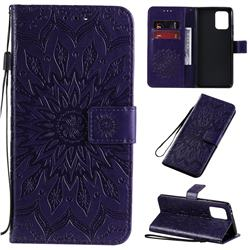 Embossing Sunflower Leather Wallet Case for Samsung Galaxy A91 - Purple