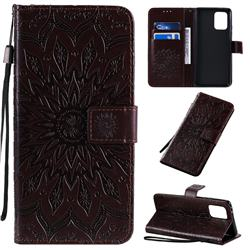 Embossing Sunflower Leather Wallet Case for Samsung Galaxy A91 - Brown