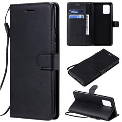 Retro Greek Classic Smooth PU Leather Wallet Phone Case for Samsung Galaxy A91 - Black