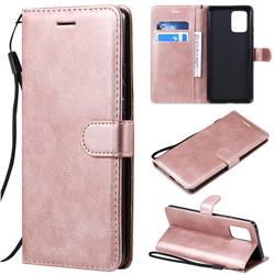 Retro Greek Classic Smooth PU Leather Wallet Phone Case for Samsung Galaxy A91 - Rose Gold