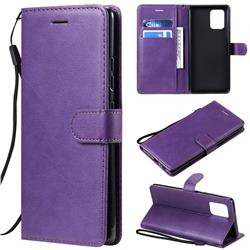 Retro Greek Classic Smooth PU Leather Wallet Phone Case for Samsung Galaxy A91 - Purple