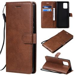 Retro Greek Classic Smooth PU Leather Wallet Phone Case for Samsung Galaxy A91 - Brown