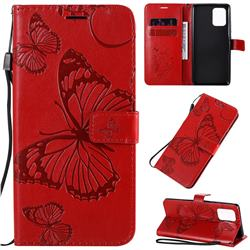 Embossing 3D Butterfly Leather Wallet Case for Samsung Galaxy A91 - Red
