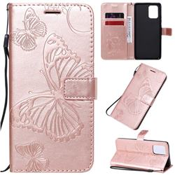 Embossing 3D Butterfly Leather Wallet Case for Samsung Galaxy A91 - Rose Gold