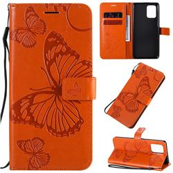 Embossing 3D Butterfly Leather Wallet Case for Samsung Galaxy A91 - Orange