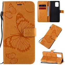 Embossing 3D Butterfly Leather Wallet Case for Samsung Galaxy A91 - Yellow