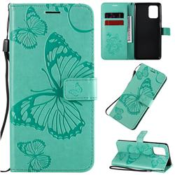 Embossing 3D Butterfly Leather Wallet Case for Samsung Galaxy A91 - Green