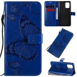 Embossing 3D Butterfly Leather Wallet Case for Samsung Galaxy A91 - Blue