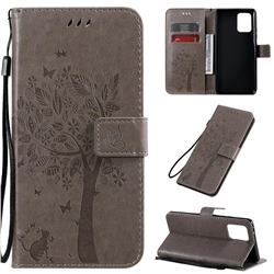 Embossing Butterfly Tree Leather Wallet Case for Samsung Galaxy A91 - Grey
