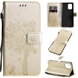 Embossing Butterfly Tree Leather Wallet Case for Samsung Galaxy A91 - Champagne