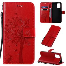 Embossing Butterfly Tree Leather Wallet Case for Samsung Galaxy A91 - Red