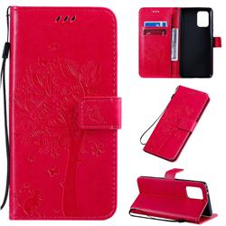 Embossing Butterfly Tree Leather Wallet Case for Samsung Galaxy A91 - Rose