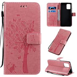 Embossing Butterfly Tree Leather Wallet Case for Samsung Galaxy A91 - Pink