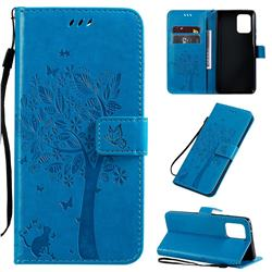 Embossing Butterfly Tree Leather Wallet Case for Samsung Galaxy A91 - Blue